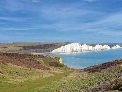View of the Seven Sisters from Seaford Head Nature Reserve  at Seaford Head Local Nature Reserve